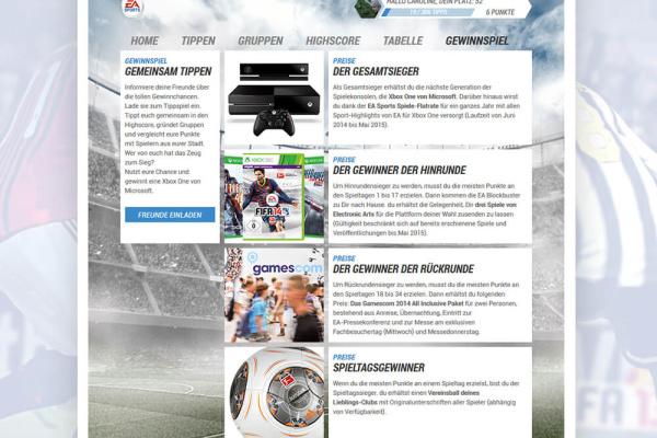 EA Tippspiel Gewinne Ansicht
