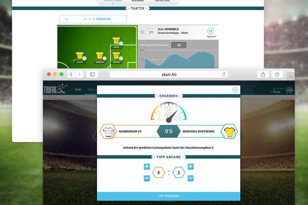 Webansicht des Fußball Ergebnis Simulator der plazz AG