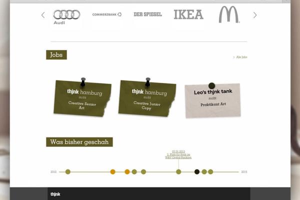 Interaktion thjnk Webseite der plazz AG