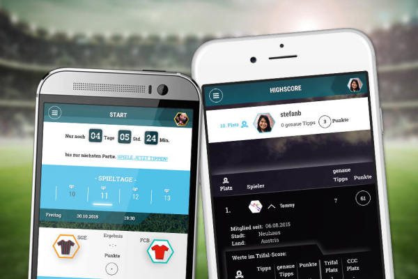Web iOS Android Fußball Ergebnis Simulator der plazz AG